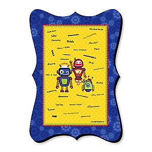 Robots - Unique Alternative Guest Book - Baby Shower or Birthday Party Signature Mat