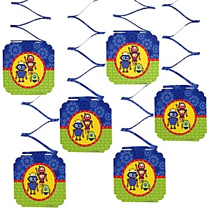 Robots - Baby Shower Hanging Decorations - 6 ct