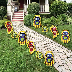 Robots - Lawn Decorations - Outdoor Baby Shower or Birthday Party Yard Decorations - 10 Piece