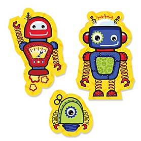 Robots - DIY Shaped Party Paper Cut-Outs - 24 ct
