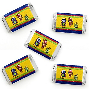 Robots - Mini Candy Bar Wrapper Stickers - Baby Shower or Birthday Party Small Favors - 40 Count