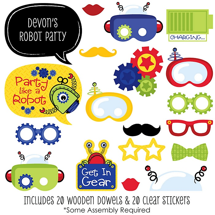 Robots - 20 Piece Baby Shower or Birthday Party Photo Booth Props Kit