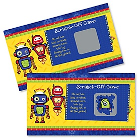 Robots - Baby Shower Game Scratch Off Cards - 22 ct