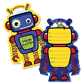Robots - Shaped Fill-In Invitations - Baby Shower or Birthday Party Invitation Cards with Envelopes - Set of 12