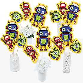 Robots - Baby Shower or Birthday Party Centerpiece Sticks - Table Toppers - Set of 15