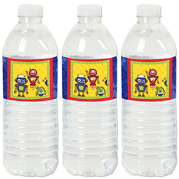 Robots - Baby Shower or Birthday Party Water Bottle Sticker Labels - Set of 20
