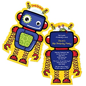 Robots birthday party theme bigdotofhappiness robots shaped birthday party invitations filmwisefo Images