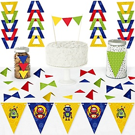 Robots - DIY Pennant Banner Decorations - Baby Shower or Birthday Party Triangle Kit - 99 Pieces