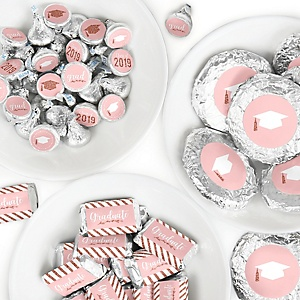 Rose Gold Grad - Mini Candy Bar Wrappers, Round Candy Stickers and Circle Stickers - 2019 Graduation Party Candy Favor Sticker Kit - 304 Pieces