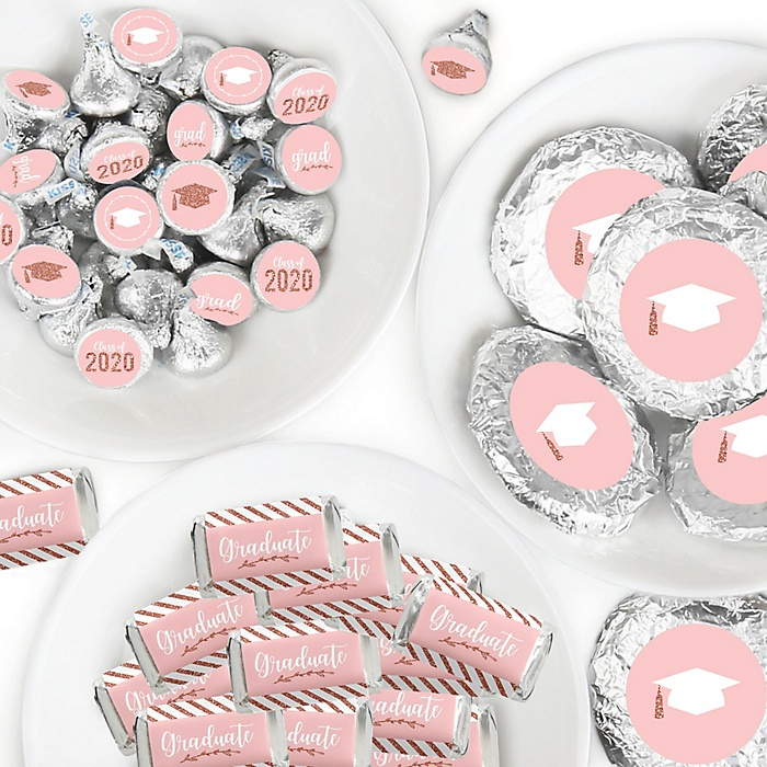 Rose Gold Grad - Mini Candy Bar Wrappers, Round Candy Stickers and Circle Stickers - 2020 Graduation Party Candy Favor Sticker Kit - 304 Pieces