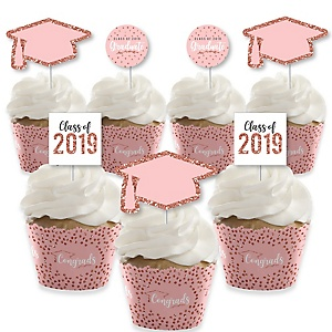 Rose Gold Grad - Cupcake Decoration - 2019 Graduation Party Cupcake Wrappers and Treat Picks Kit - Set of 24