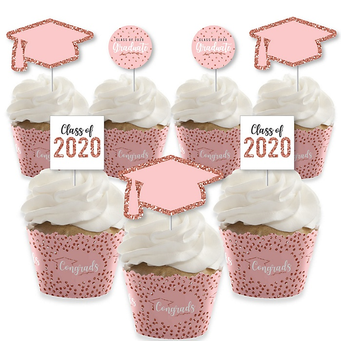 Rose Gold Grad - Cupcake Decoration - 2020 Graduation Party Cupcake Wrappers and Treat Picks Kit - Set of 24