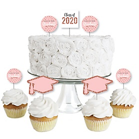Rose Gold Grad - Dessert Cupcake Toppers - 2020 Graduation Party Clear Treat Picks - Set of 24