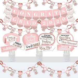 Rose Gold Grad - Banner and Photo Booth Decorations - 2020 Graduation Party Supplies Kit - Doterrific Bundle