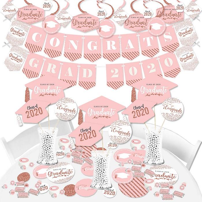 Rose Gold Grad - 2020 Graduation Party Supplies - Banner Decoration Kit - Fundle Bundle