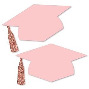 Rose Gold Grad - Grad Hat Decorations DIY Large Graduation Party Essentials - 20 Count