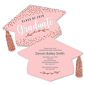 Rose Gold Grad - Personalized 2019 Graduation Invitations - Set of 12