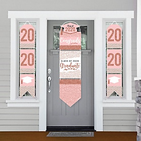 Rose Gold Grad - Hanging Porch Front Door Signs - 2020 Graduation Party Banner Decoration Kit - Outdoor Door Decor
