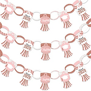 Rose Gold Grad - 90 Chain Links and 30 Paper Tassels Decoration Kit - 2020 Graduation Party Paper Chains Garland - 21 feet