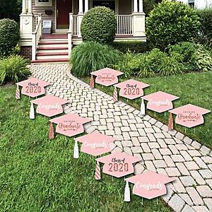 Rose Gold Grad - Grad Cap Lawn Decorations - Outdoor 2020 Graduation Party Yard Decorations - 10 Piece