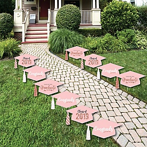 Rose Gold Grad - Grad Cap Lawn Decorations - Outdoor 2019 Graduation Party Yard Decorations - 10 Piece