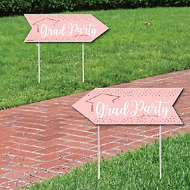 Rose Gold Grad - Graduation Party Sign Arrow - Double Sided Directional Yard Signs - Set of 2