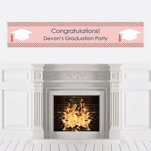 Rose Gold Grad - Personalized Graduation Party Banner