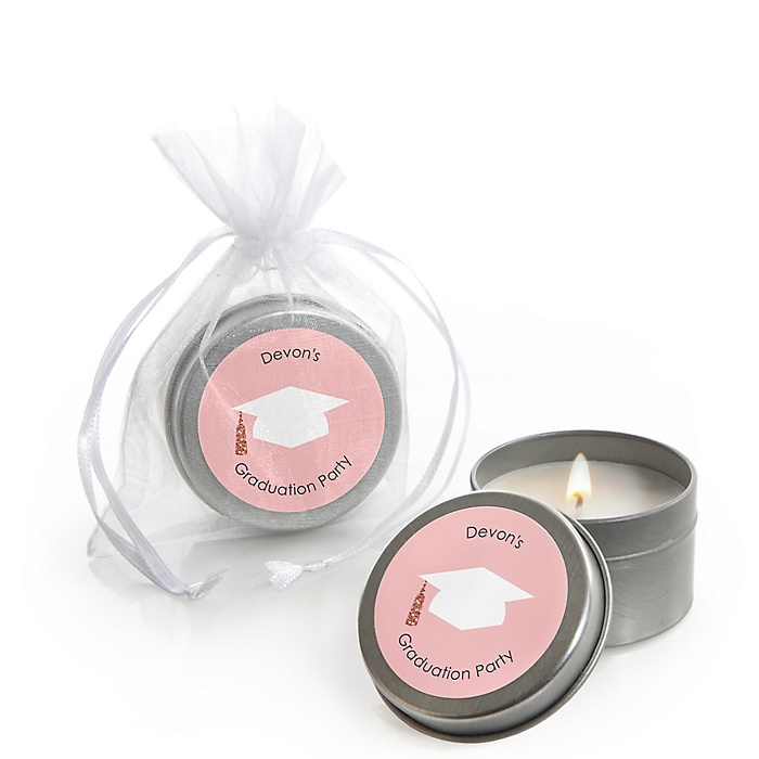 Rose Gold Grad - Personalized Graduation Candle Tin Favors - Set of 12