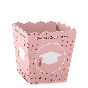 Rose Gold Grad - Party Mini Favor Boxes - Personalized 2019 Graduation Treat Candy Boxes - Set of 12