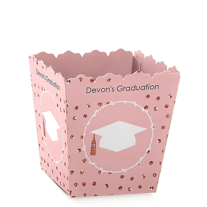 Rose Gold Grad - Party Mini Favor Boxes - Personalized Graduation Treat Candy Boxes - Set of 12