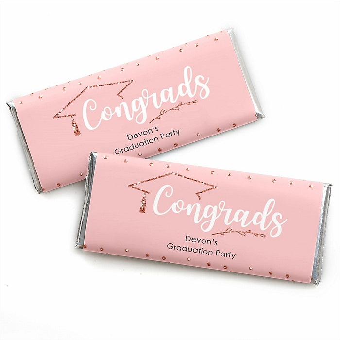 Rose Gold Grad - Personalized Candy Bar Wrappers Graduation Party Favors - Set of 24