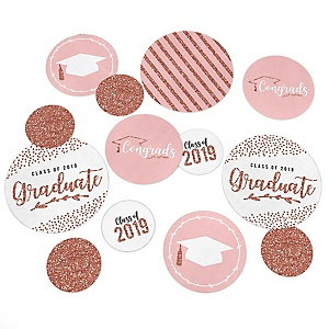 Rose Gold Grad - 2019 Graduation Party Giant Circle Confetti - Party Decorations - Large Confetti 27 Count