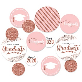 Rose Gold Grad - 2020 Graduation Party Giant Circle Confetti - Party Decorations - Large Confetti 27 Count