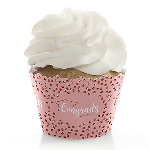 Rose Gold Grad - Graduation Decorations - Party Cupcake Wrappers - Set of 12