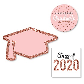 Rose Gold Grad - DIY Shaped 2020 Graduation Party Paper Cut-Outs - 24 ct