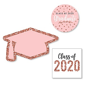 Rose Gold Grad - DIY Shaped 2020 Graduation Party Paper Cut-Outs - 24 ct