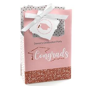 Rose Gold Grad - Personalized Graduation Favor Boxes - Set of 12