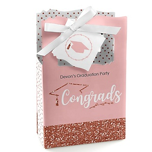 Rose Gold Grad - Personalized Graduation Favor Boxes - Set of 12