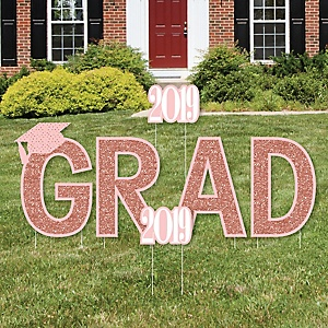 GRAD - Rose Gold Grad - Yard Sign Outdoor Lawn Decorations - 2019 Graduation Party Yard Signs