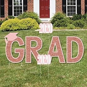 GRAD - Rose Gold Grad - Yard Sign Outdoor Lawn Decorations - 2020 Graduation Party Yard Signs