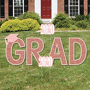 GRAD - Rose Gold Grad - Yard Sign Outdoor Lawn Decorations - 2020 Graduation Party Yard Signs