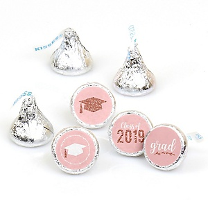 Rose Gold Grad - Round Candy Labels 2019 Graduation Party Favors - Fits Hershey's Kisses 108 ct