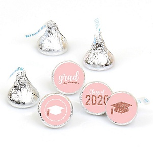 Rose Gold Grad - Round Candy Labels 2020 Graduation Party Favors - Fits Hershey's Kisses 108 ct