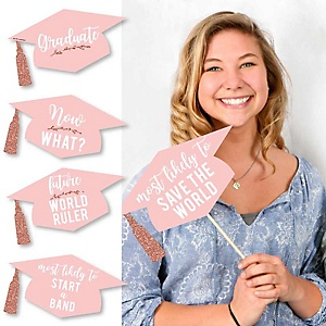 Hilarious Rose Gold Grad - 20 Piece Graduation Party Photo Booth Props Kit