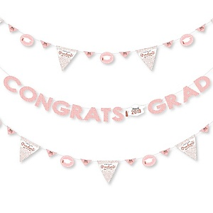 Rose Gold Grad - 2019 Graduation Party Letter Banner Decoration - 36 Banner Cutouts and Congrats Grad Banner Letters