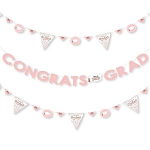 Rose Gold Grad - 2020 Graduation Party Letter Banner Decoration - 36 Banner Cutouts and Congrats Grad Banner Letters