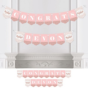 Rose Gold Grad - Personalized 2019 Graduation Party Bunting Banner & Decorations