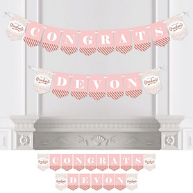 Rose Gold Grad - Personalized 2020 Graduation Party Bunting Banner & Decorations