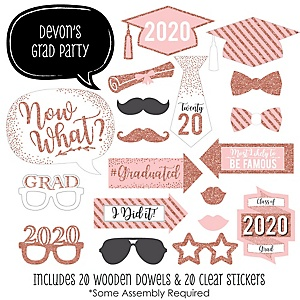 Rose Gold - 20 Piece 2020 Graduation Party Photo Booth Props Kit