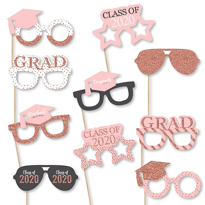 Rose Gold Grad Glasses - 2020 Paper Card Stock Graduation Party Photo Booth Props Kit - 10 Count